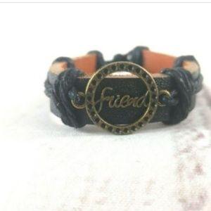 Jewelry - Unisex Leather Cuff With 'Friend' Charm